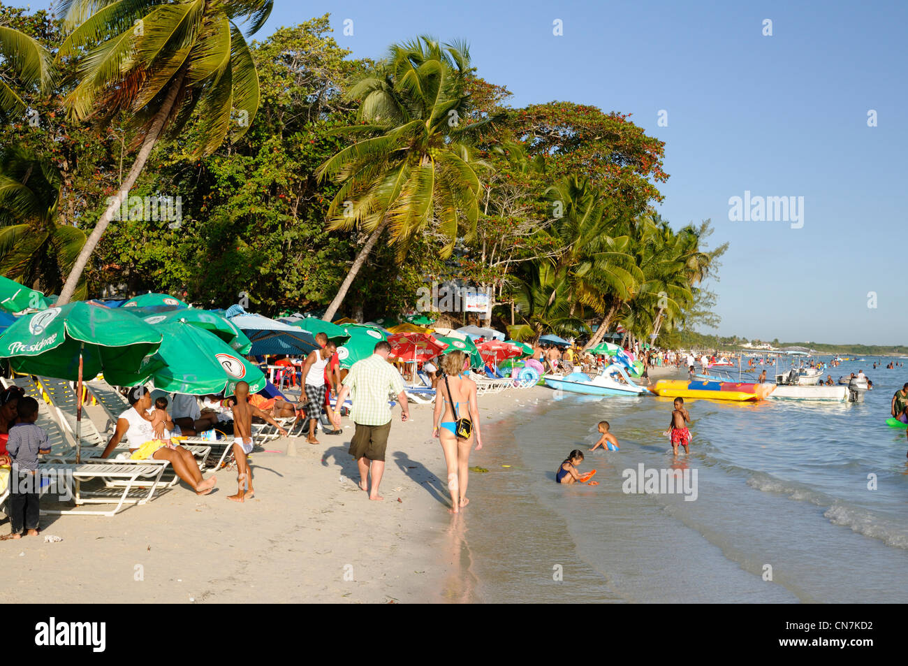Dominican Republic Santo Domingo province Boca Chica tourists and