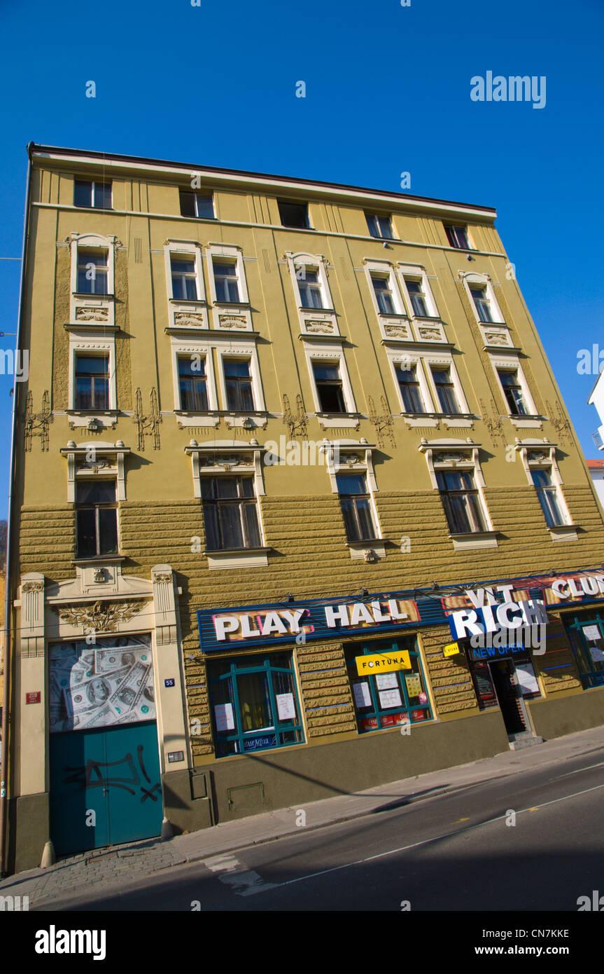Play game hall arcade exterior Konevova street Zizkov district Prague Czech Republic Europe - Stock Image