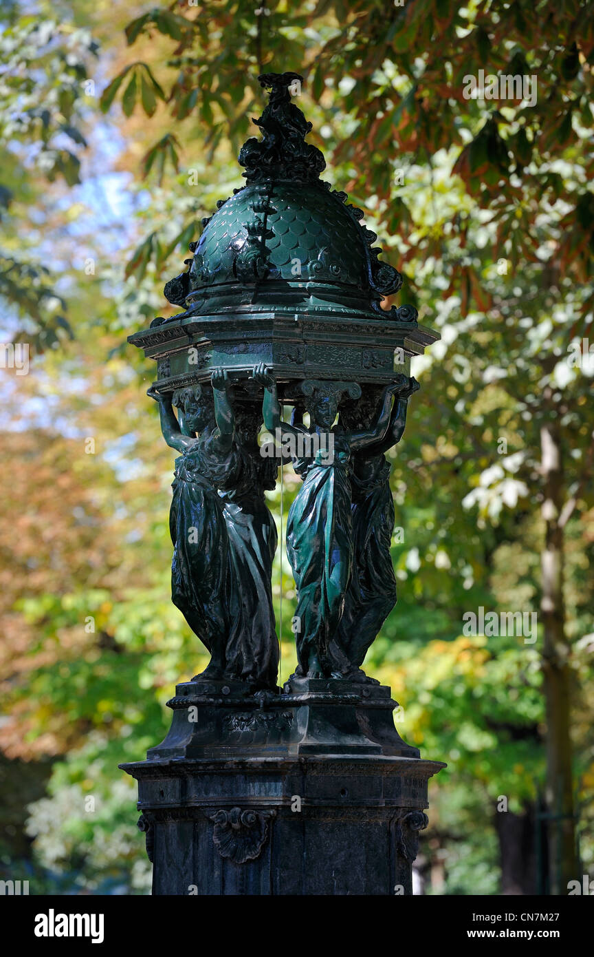 France, Paris, Wallace fountain - Stock Image