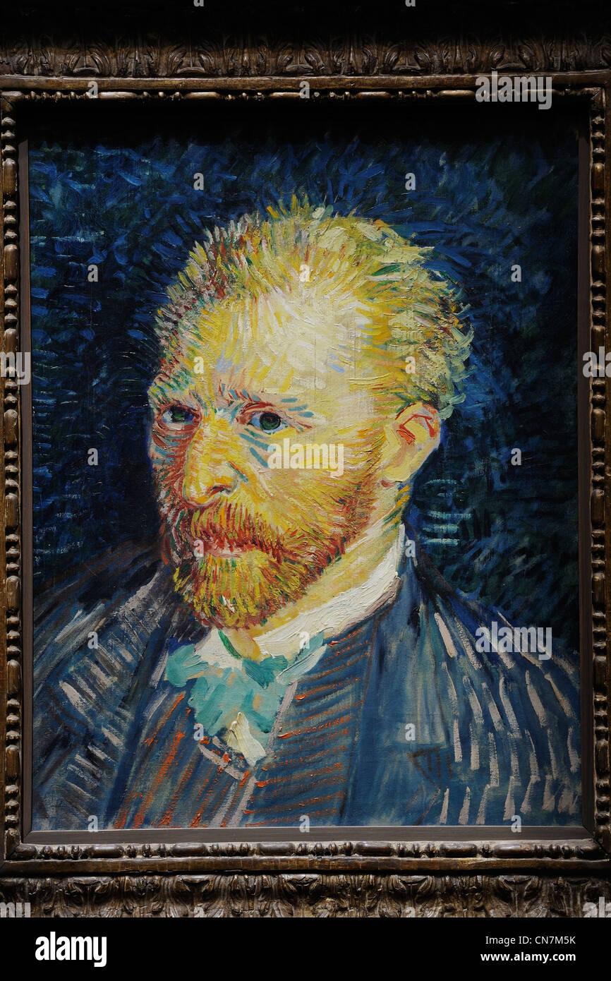 France, Paris, the Orsay Museum, Vincent van Gogh, Autoportrait 1887 - Stock Image