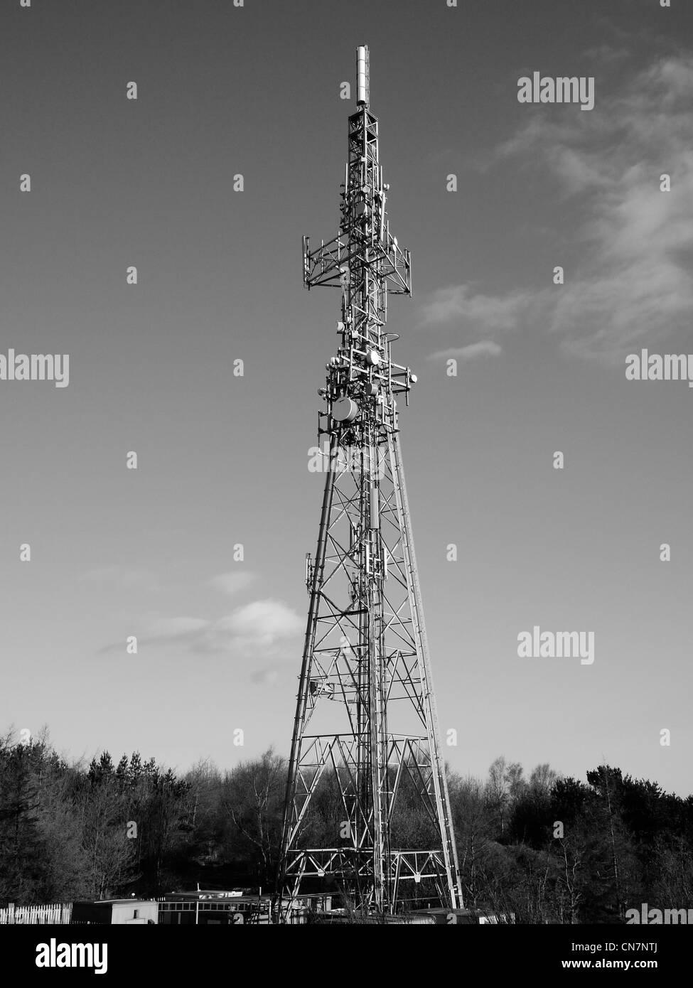 Telecommunications mast, Oldham, Lancashire, England, UK. - Stock Image