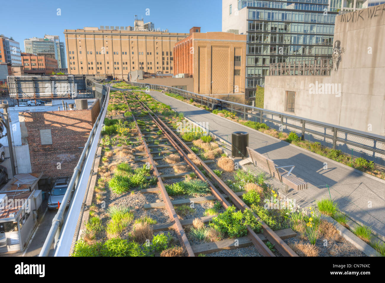 a view of the landscaping in high line park planted along the old stock photo 47499380 alamy. Black Bedroom Furniture Sets. Home Design Ideas