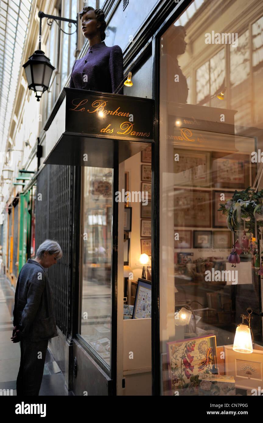 France, Paris, Passage Verdeau, Au Bonheur des Dames store - Stock Image