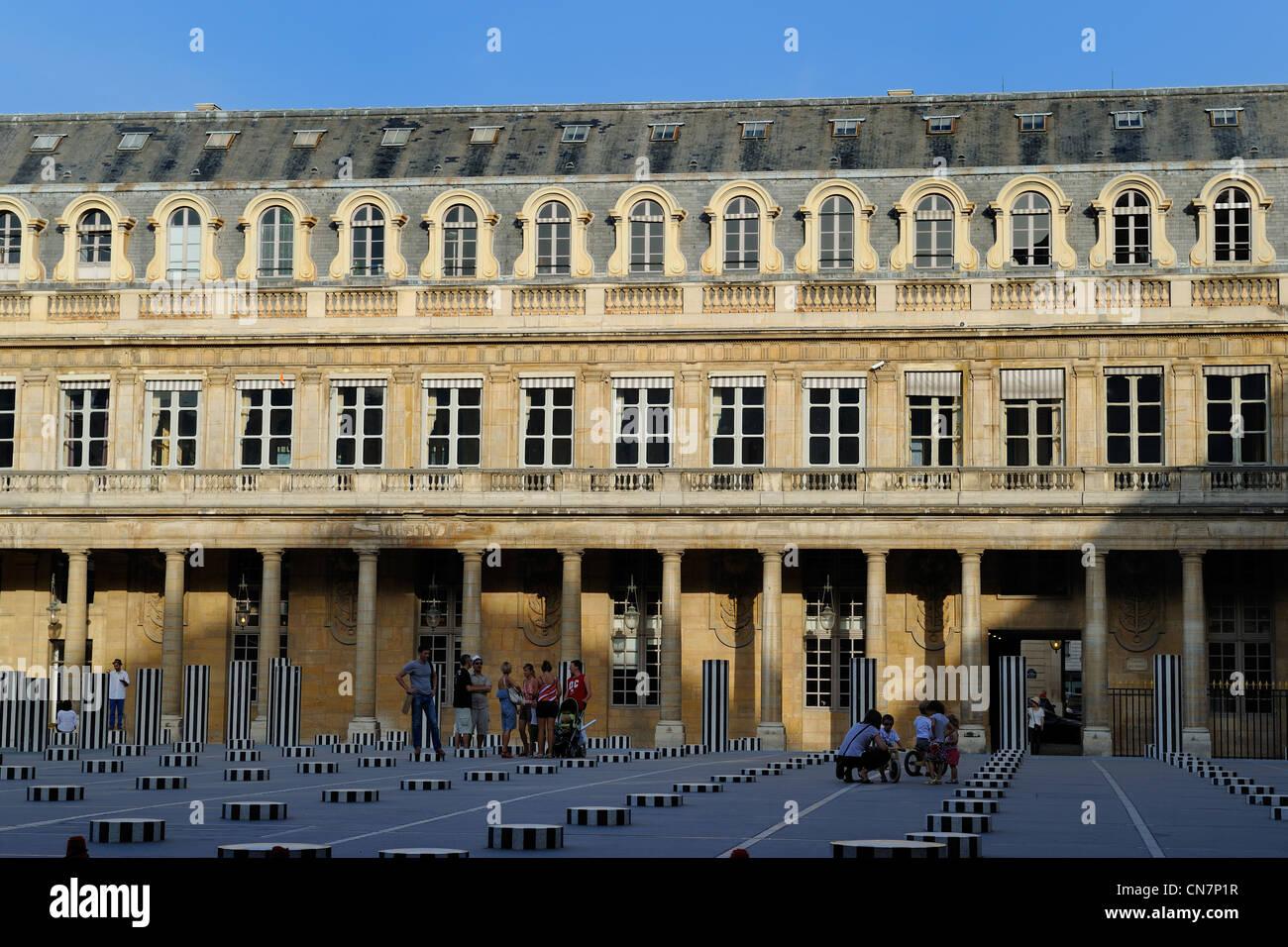 France, Paris, Palais Royal, Buren column - Stock Image