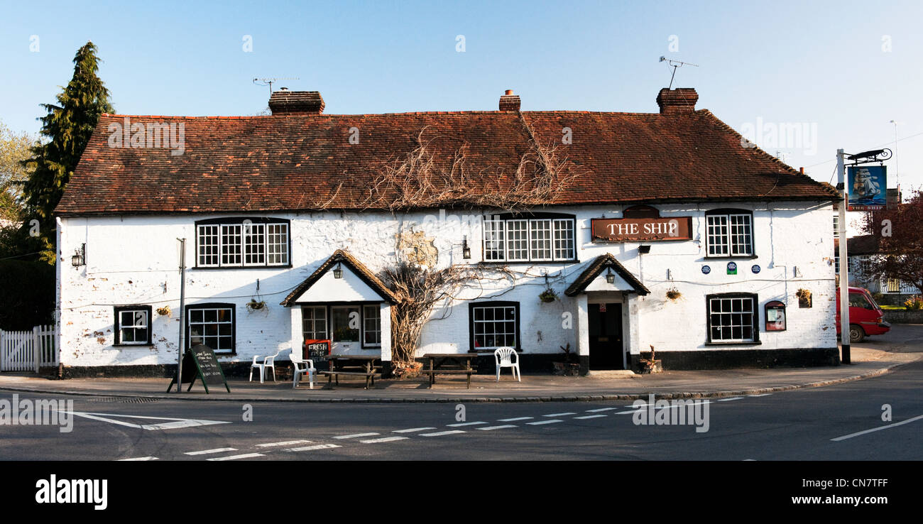 The Ship in South Harting, West Sussex just south of the South Downs Way. A pub that is in need of repair. - Stock Image