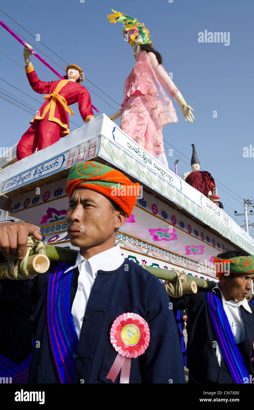 Yearly procession to monastery on Pa Oh minority National Day. Taungyi. Southern Shan State. Myanmar. - Stock Image