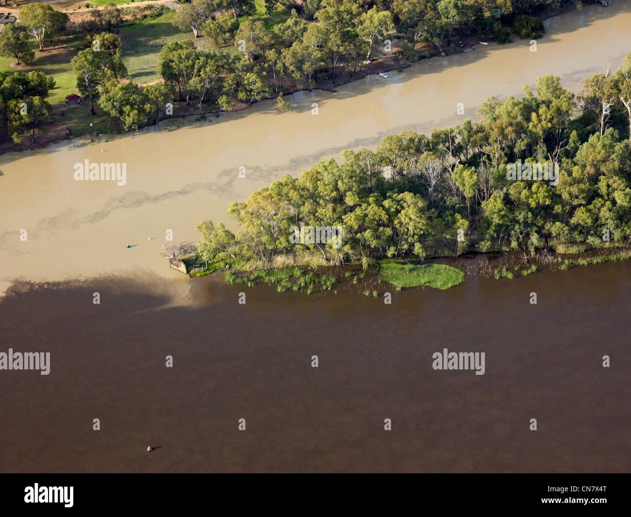Low altitude aerial photo of Murray Darling Junction, Wentworth, NSW, Australia - Stock Image