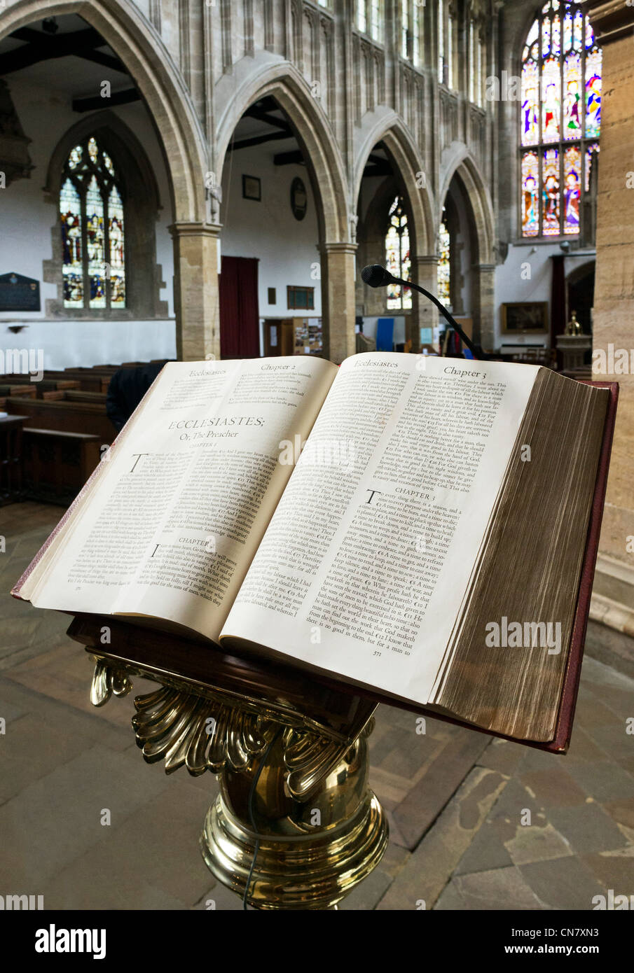 Holy bible open at the Book of Ecclesiastes, Church of the Holy Trinity, Stratford-upon-Avon, Warwickshire, England, - Stock Image