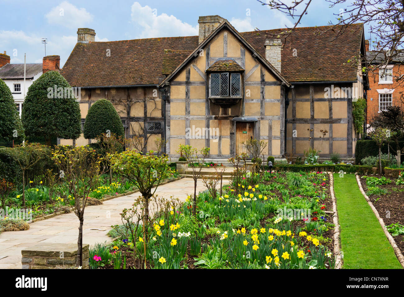 The birthplace of William Shakespeare from the gardens, Henley Street, Stratford-upon-Avon, Warwickshire, England, - Stock Image