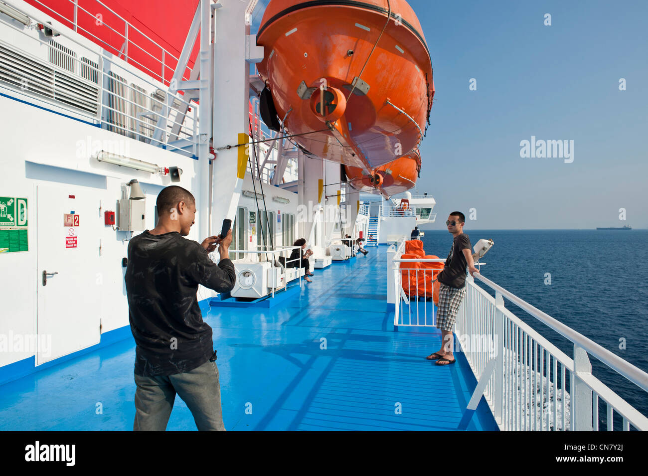 Greece, the Nissos Chios highspeed ferry of Hellenic Seaways going to Chios Island - Stock Image