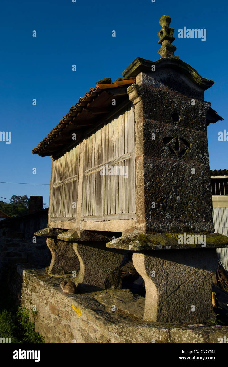Spain, Galicia, Palas de Rei, traditional galician stone drier on stilts, in stone, with wooden walls and tile roof, - Stock Image
