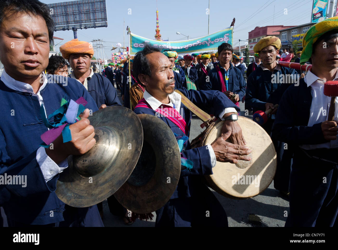Music band. Yearly procession to monastery on Pa Oh minority National Day. Taungyi. Southern Shan State. Myanmar. - Stock Image