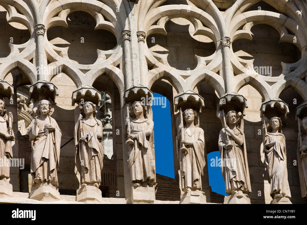 Spain, Castile and Leon, Burgos, ornemental details of the Santa Maria cathedral, listed as World Heritage by UNESCO, - Stock Image