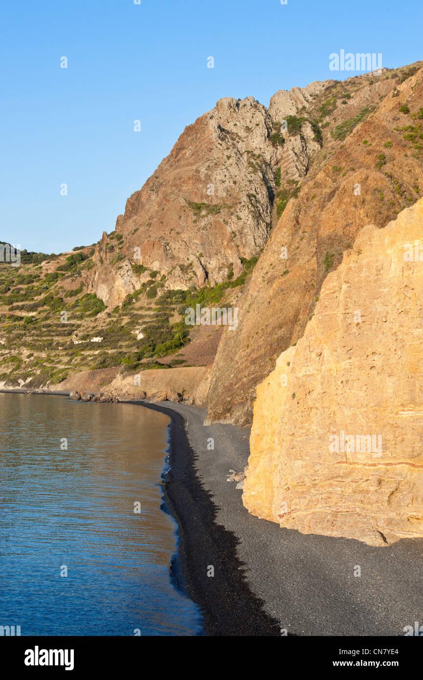 Greece, Chios Island, Emporio, the black pebble beach of Mavra Volia - Stock Image