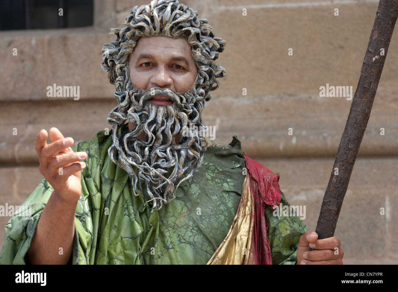 Spain, Galicia, Santiago de Compostela, street show inspired by the Bible - Stock Image