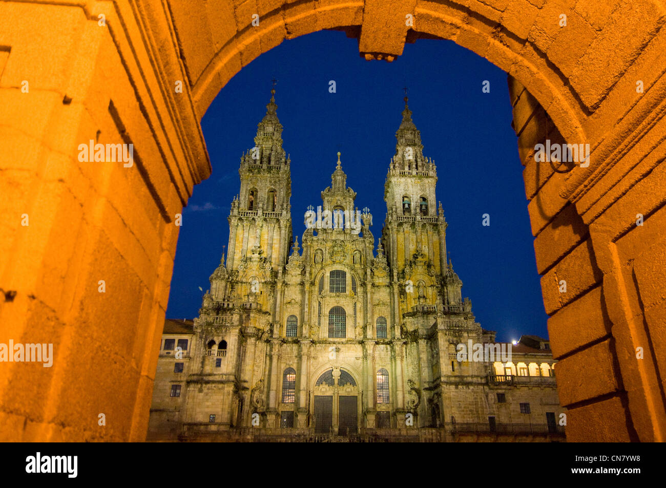 Spain, Galicia, Santiago de Compostela, listed as World Heritage by UNESCO, the cathedral, roman jewel in a baroque Stock Photo
