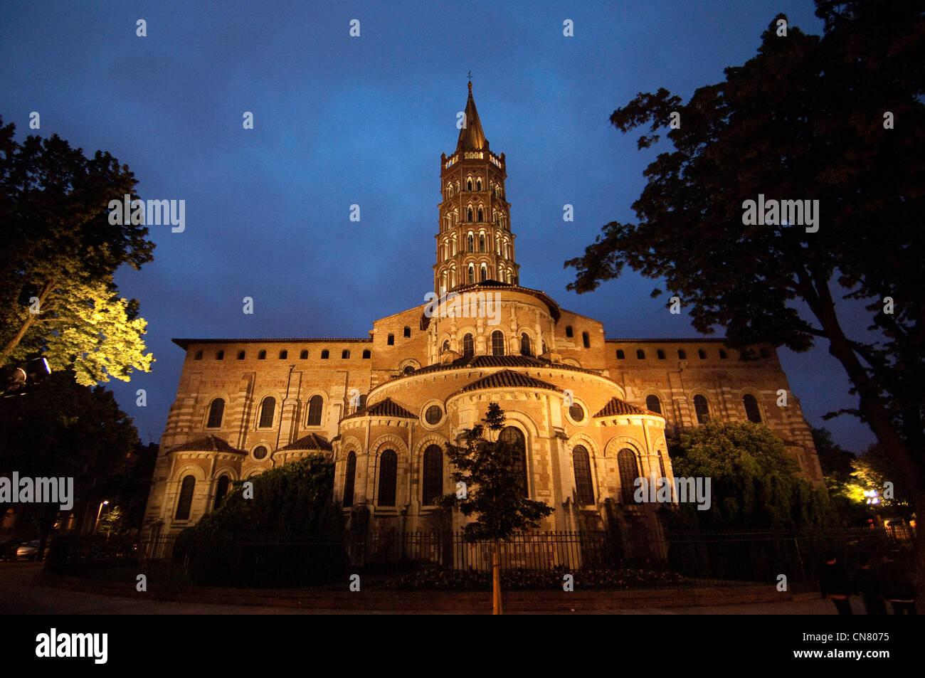 France, Haute Garonne, Toulouse, stop on el Camino de Santiago, cathedral Saint Sernin (or Saint Saturnin) dated - Stock Image