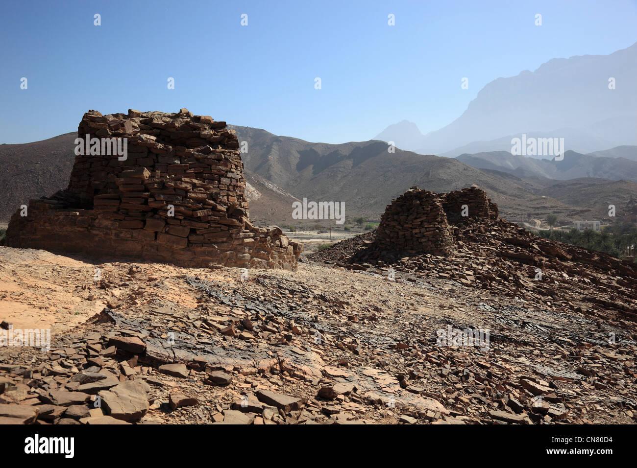 Die Bienenkorbgräber von Al-Ayn sind wegen ihres guten Erhaltungszustandes und der Lage am Rande des Jebel - Stock Image