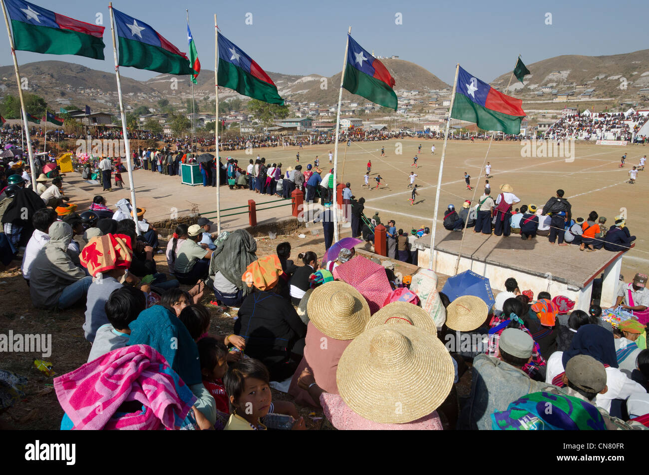 Soccer match during Pa Oh National Day. Taungyi. Shan State. Myanmar. Stock Photo