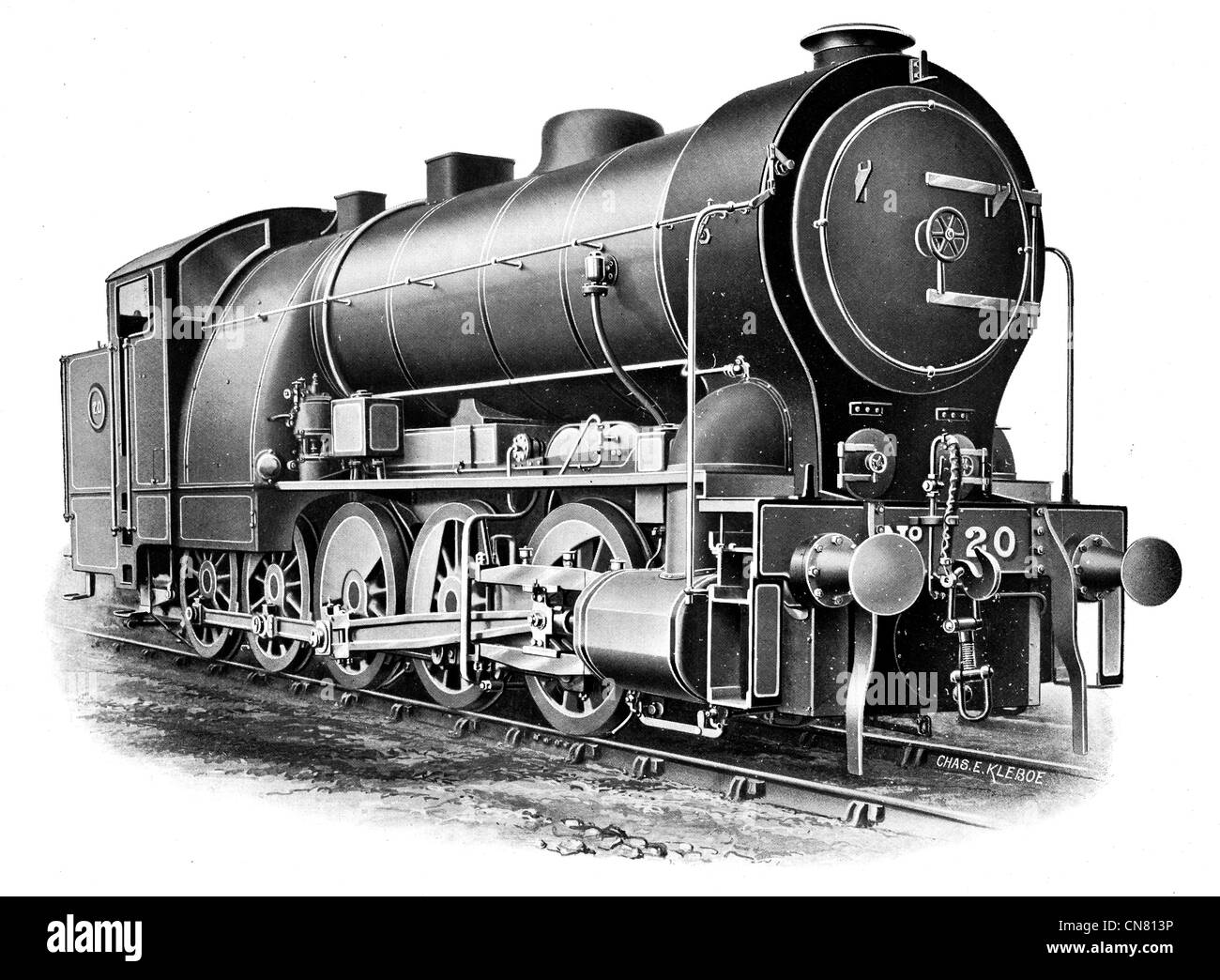 1900 steam train locomotive engine railway boiler driver carriage power transport - Stock Image