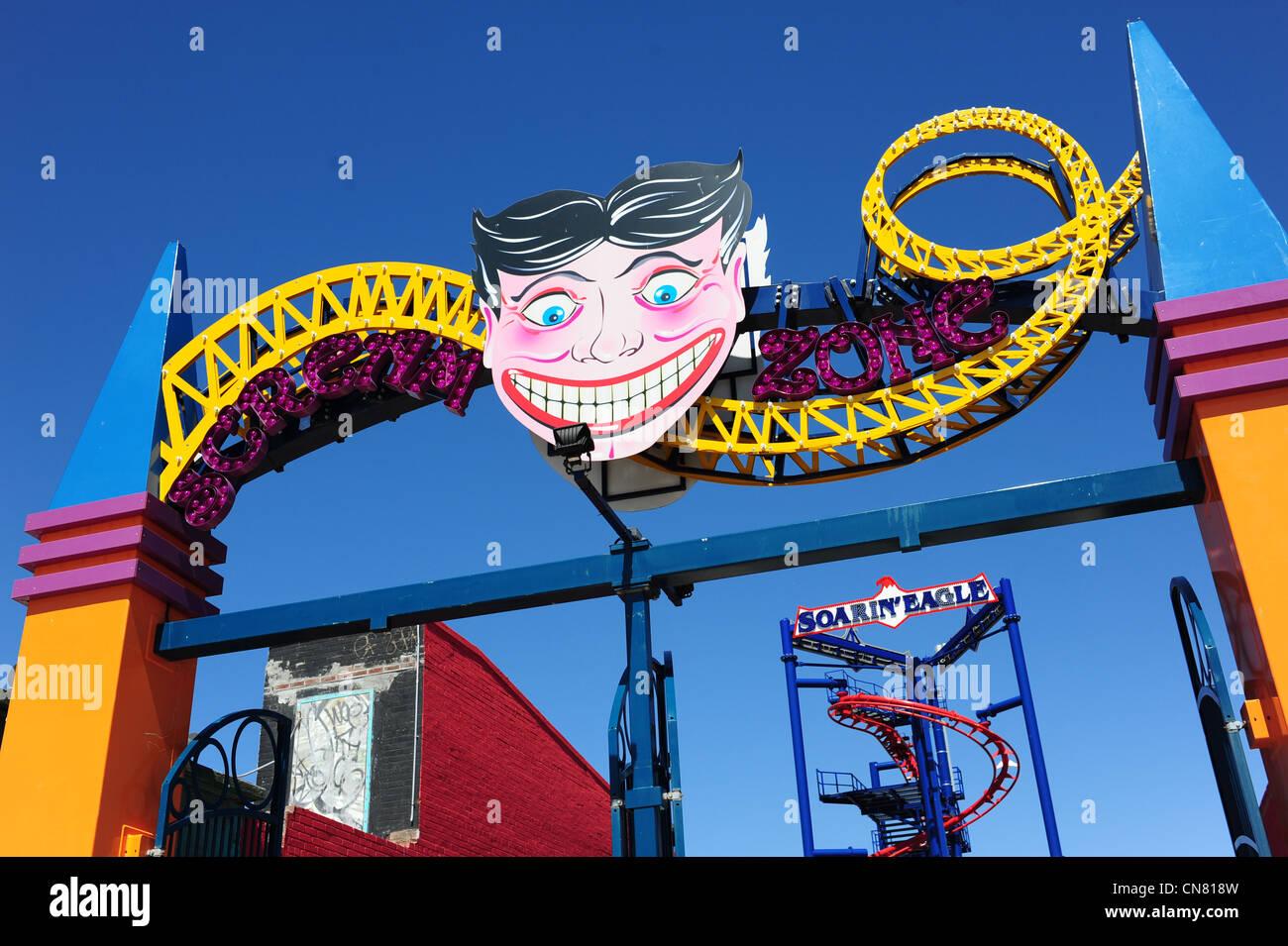 USA New York City NY NYC Brooklyn Coney Island amusement park and beach The Soarin' Eagle coaster - Stock Image