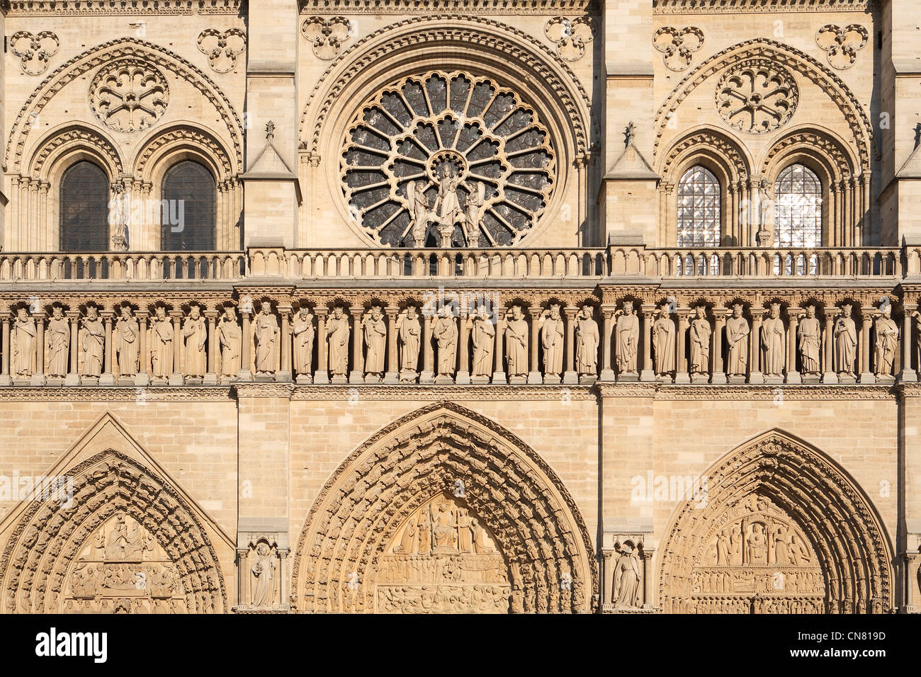 France, Paris, Notre Dame de Paris cathedral, the western facade, the Rose, the gallery of the Kings and the portals - Stock Image