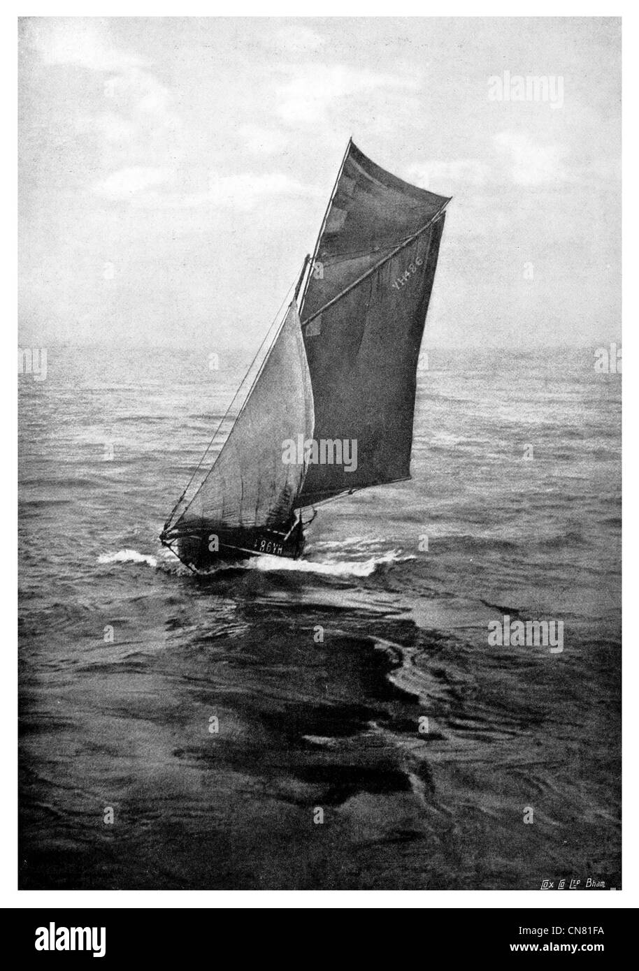 sailing sail Edwardian era 1900 - Stock Image