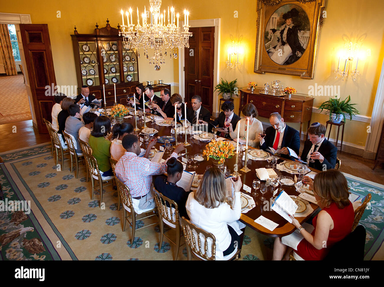President Barack Obama and First Lady Michelle Obama host a Passover Seder Dinner for family, staff and friends, - Stock Image