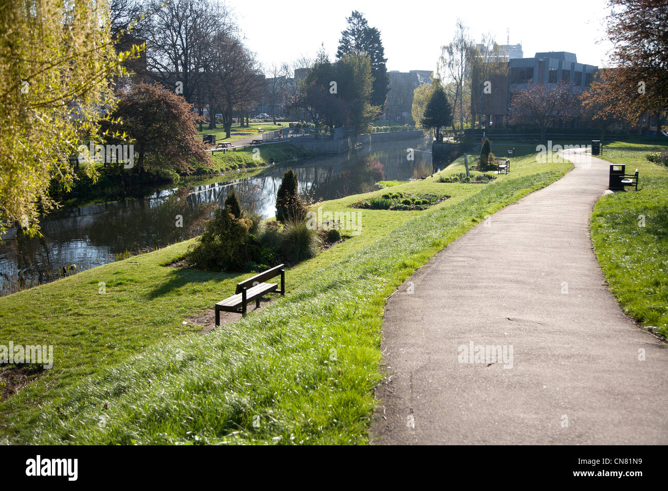 Chelmsford town center showing river chelmer and bridge in distance - Stock Image