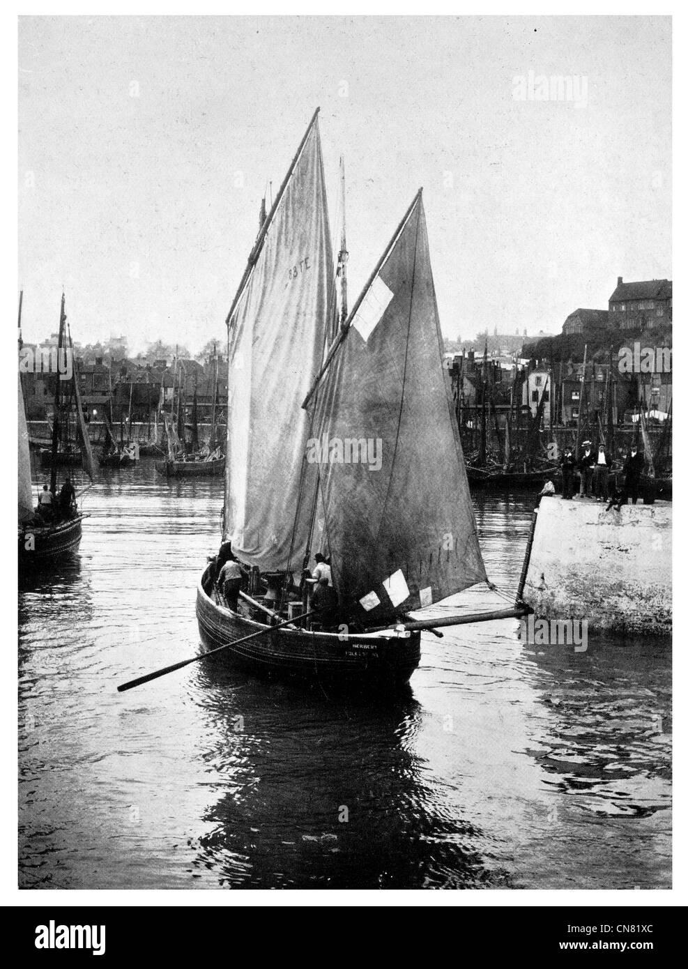 Schooner sailing sail Edwardian era 1900 - Stock Image