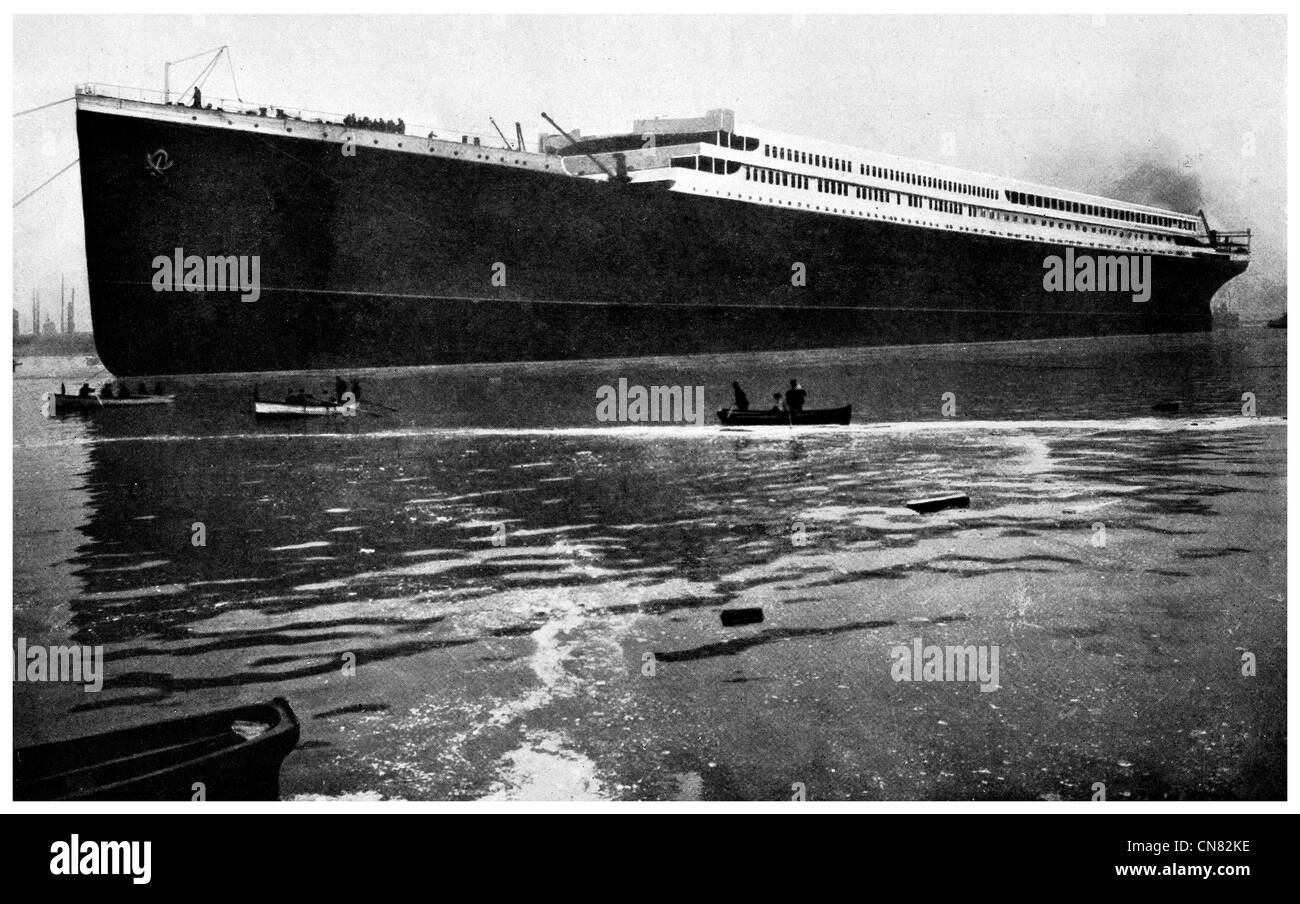 1917 British Steamer HMHS  Britannic after Launch - Stock Image