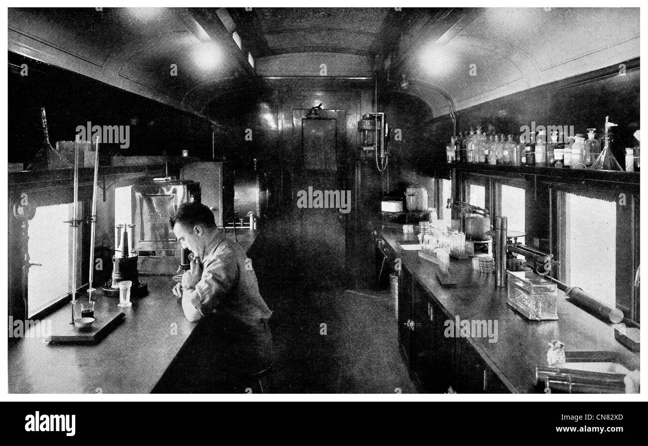 1917 Laboratory Cars US Public Health Service Lab in railway train carriage - Stock Image