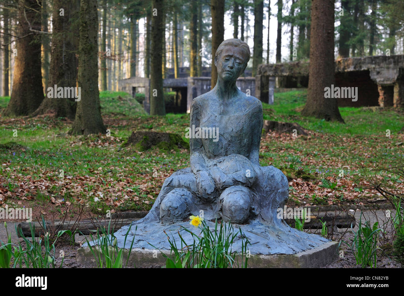 Second World War monument showing mourning mother at the German WWII V1 launch site at Ardouval / Val Ygot, Normandy, - Stock Image