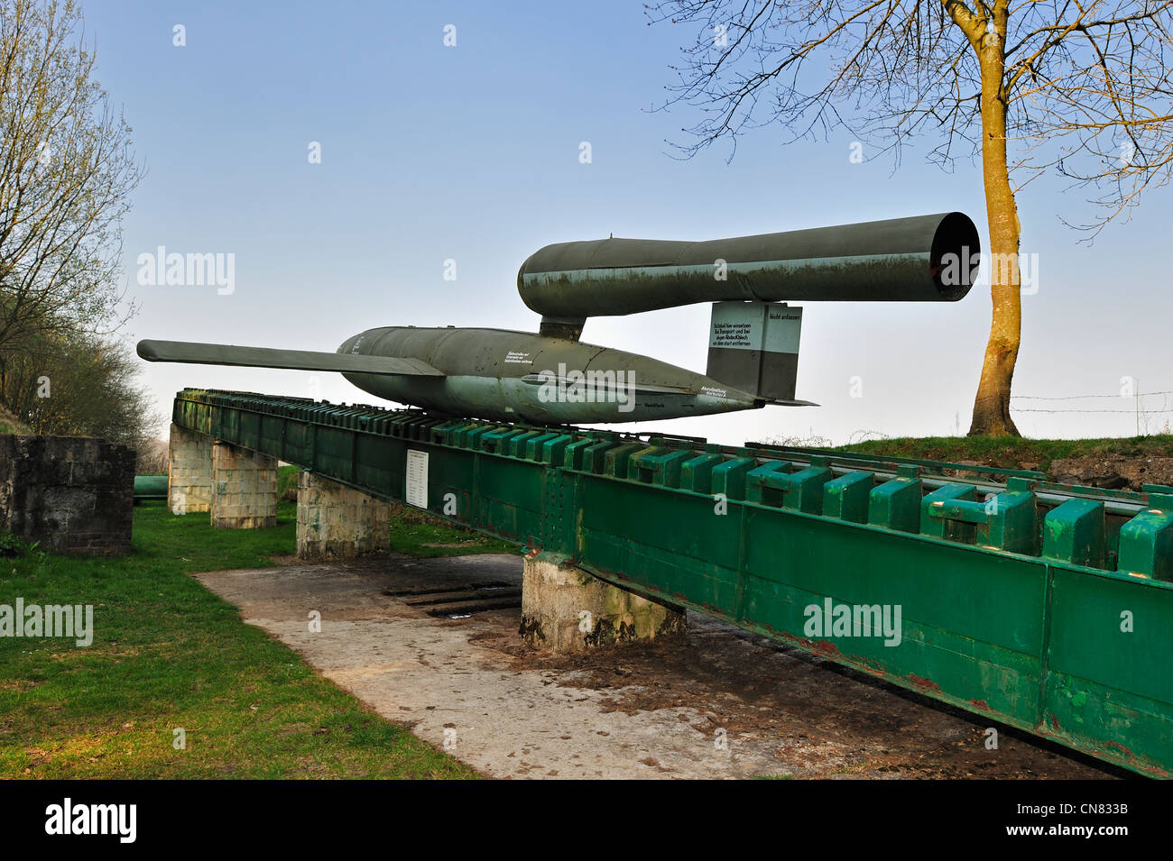 German World War Two launching ramp with flying bomb / doodlebug at the V1 launch site at Ardouval / Val Ygot, Normandy, - Stock Image