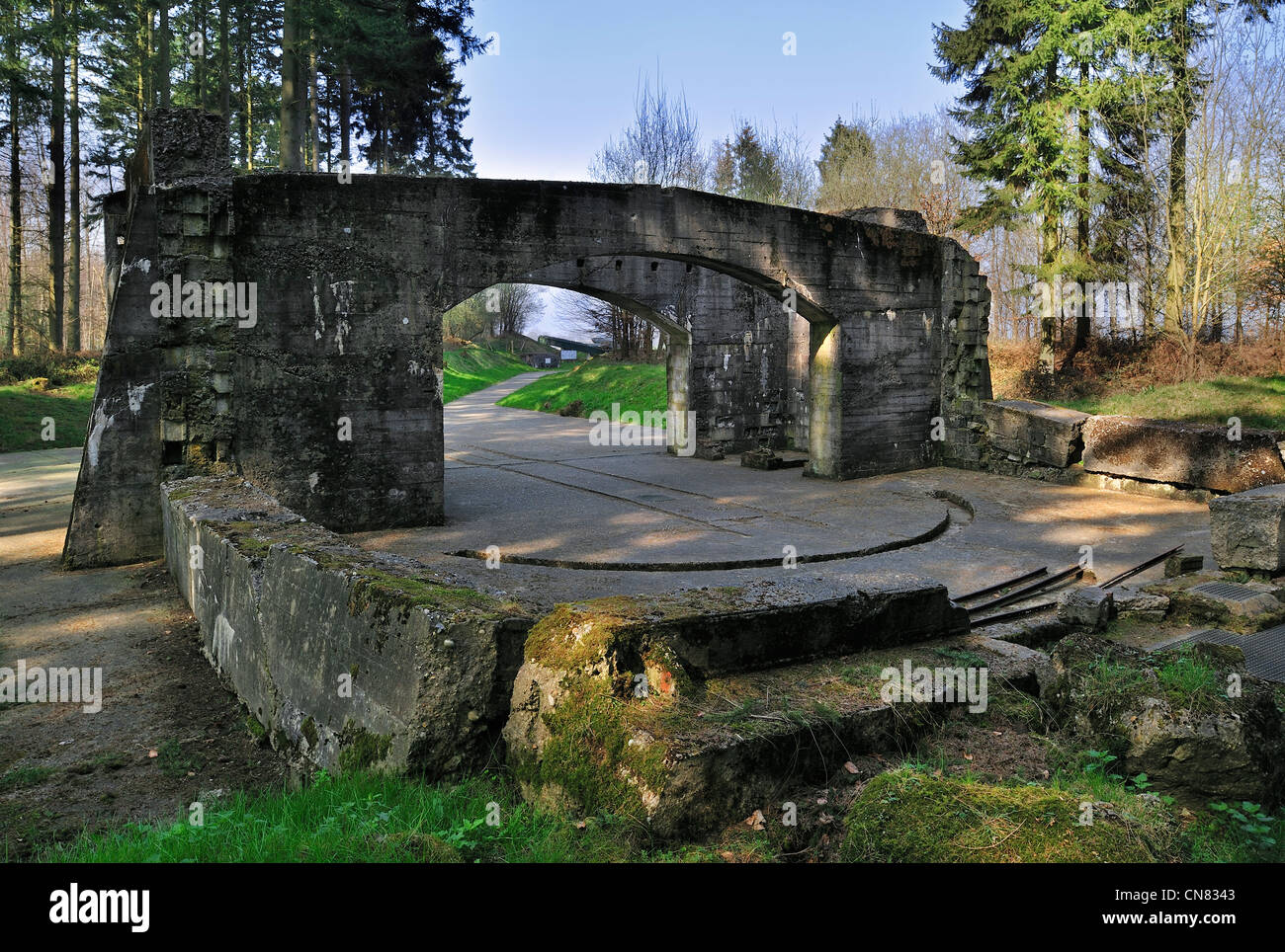 German WWII launch ramp and amagnetic building for calibrating rocket at V1 launch site, Ardouval / Val Ygot, Normandy, - Stock Image