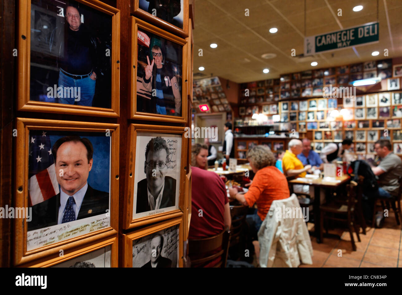 United States, New York City, Manhattan, Midtown, photos dedicated by personalities in a room of the restaurant - Stock Image