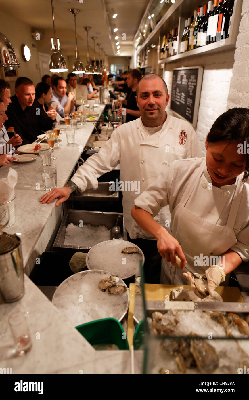 United States, New York City, Manhattan, chef of the Ed's Lobster Bar, restaurant specialized in seafood, 222 - Stock Image