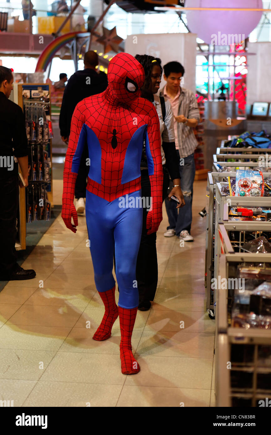 United States New York City Manhattan Midtown Times Square Toys R Us store man dressed as Spiderman & United States New York City Manhattan Midtown Times Square Toys ...