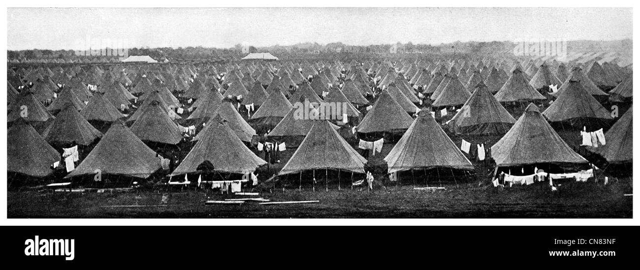 1917 New York National Guard Camp Canvas tents Rainbow Division - Stock Image