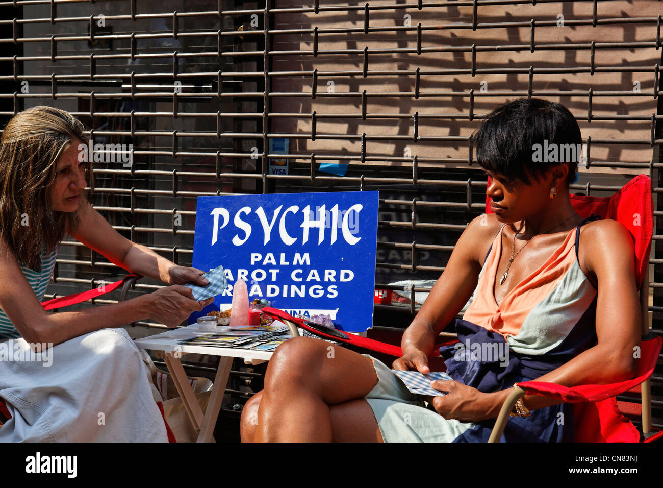 United States, New York City, Manhattan, fortune teller in a street of Greenwich Village - Stock Image