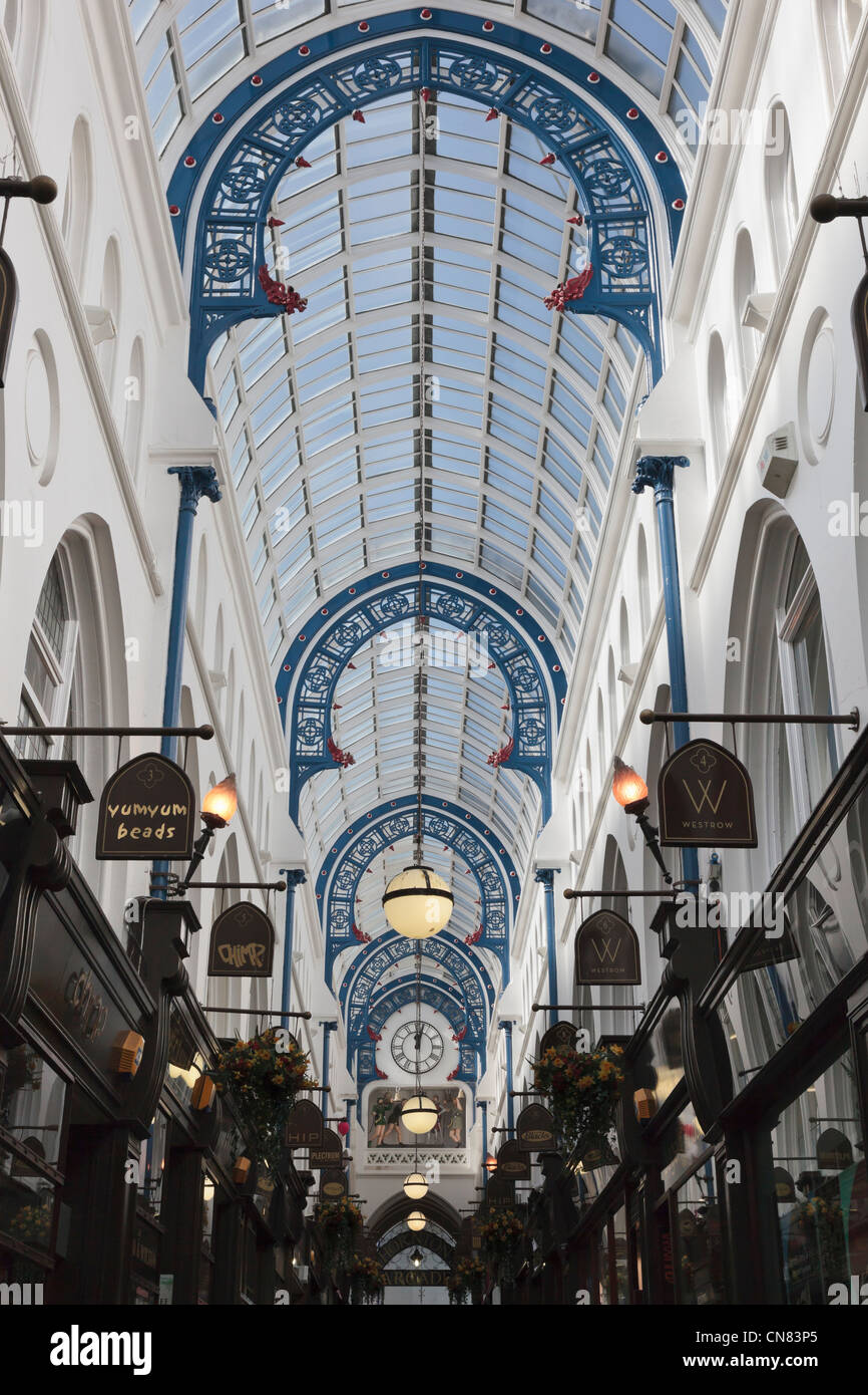 Ornate glass roof of Thorntons Arcade 1878 covered shopping mall by architect George Smith in Leeds, West Yorkshire, - Stock Image
