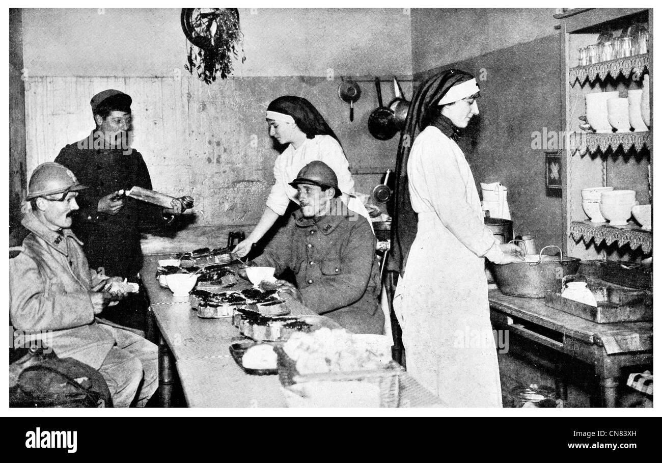 French canteen and hospital World War 1   First published 1917 - Stock Image