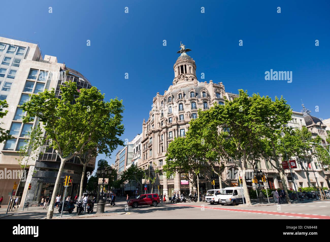 Passeig de Gracia, Barcelona, Spain. - Stock Image