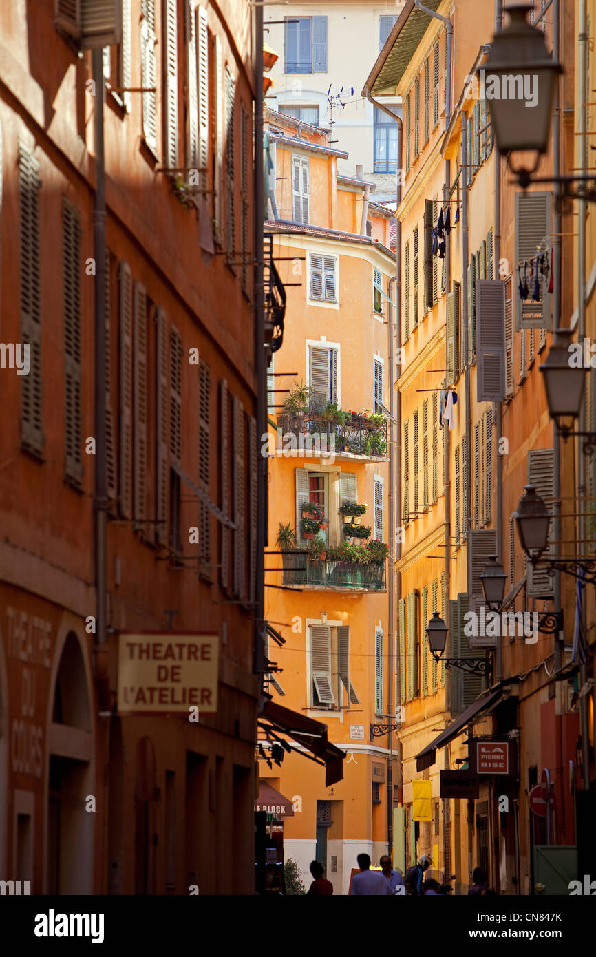 France, Alpes Maritimes, Nice, Vieux Nice (Old Town), Rue Barillerie - Stock Image