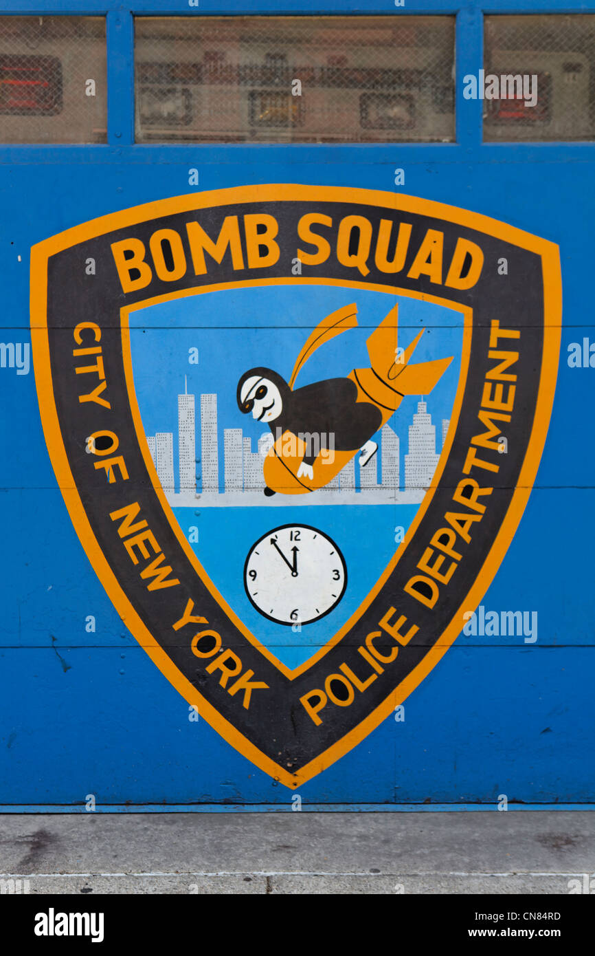 United States, New York City, Manhattan, logo on the garage door of the New York Bomb Squad Unit - Stock Image