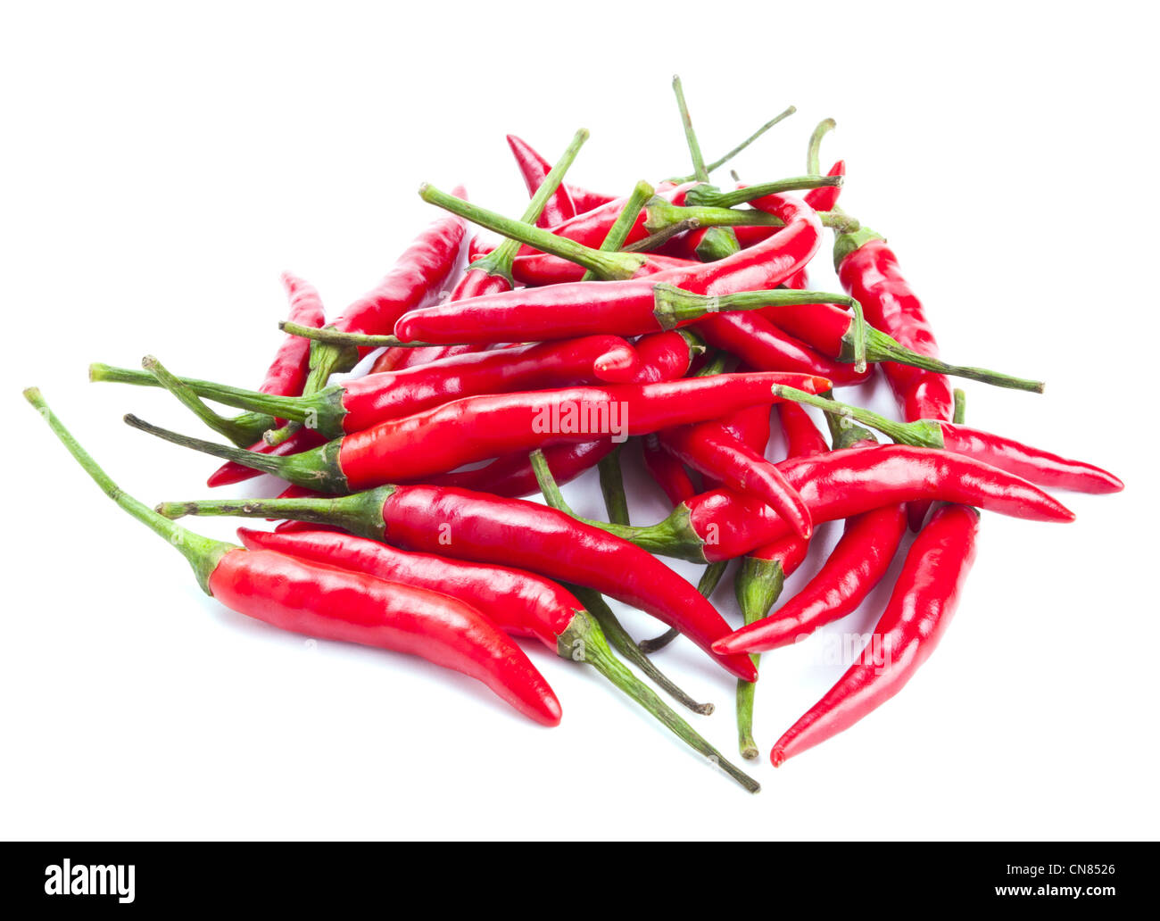 Red chili peppers isolated on white background - Stock Image
