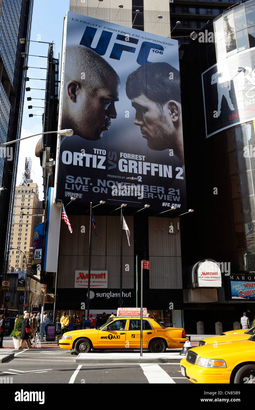 United States, New York City, Manhattan, Midtown, Times Square, Advertising for a boxing match - Stock Image