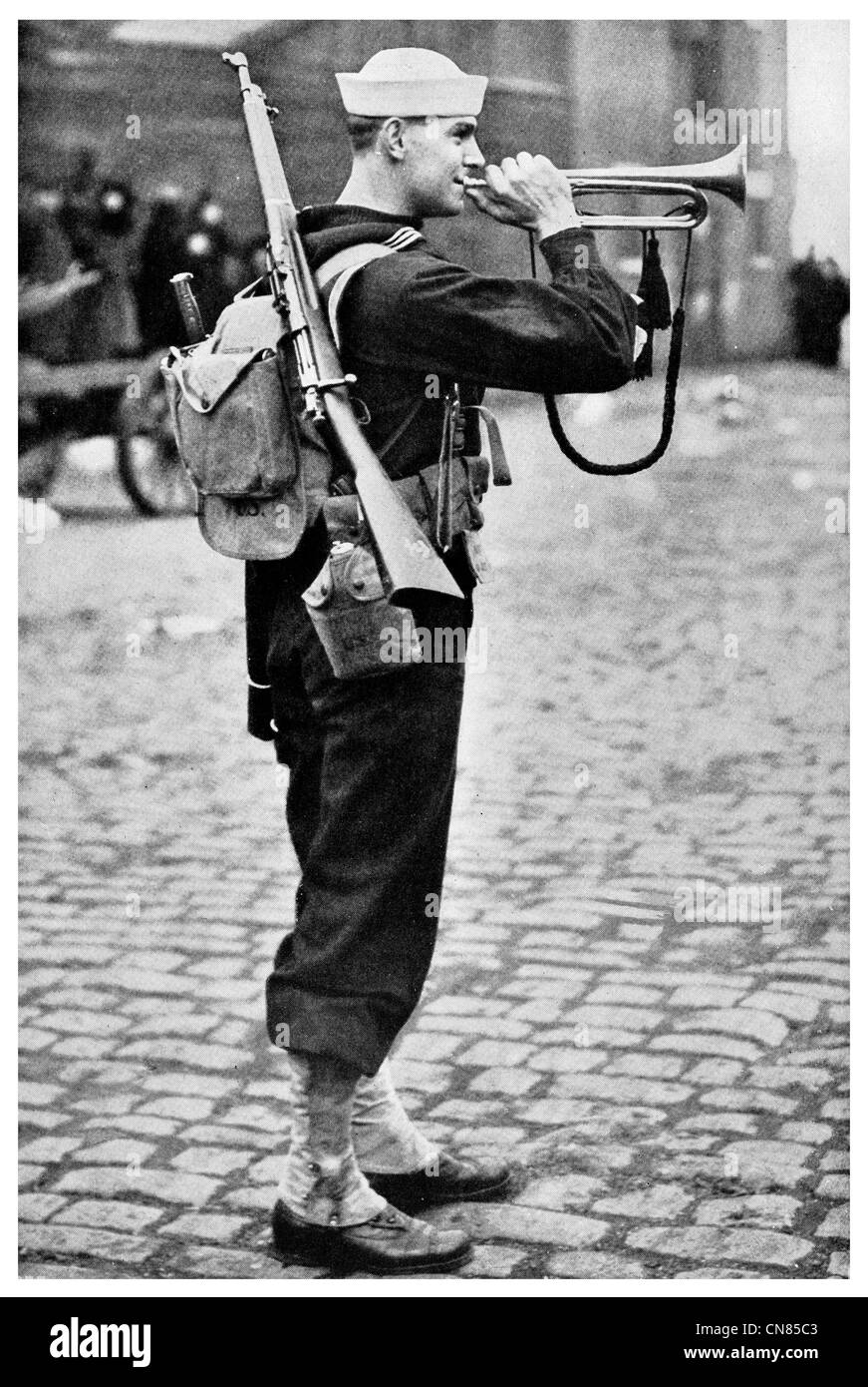 First published 1917 Naval Navy Militia Bugler Sounding a Call instrument Bugle US U.S.A. America American sailor - Stock Image