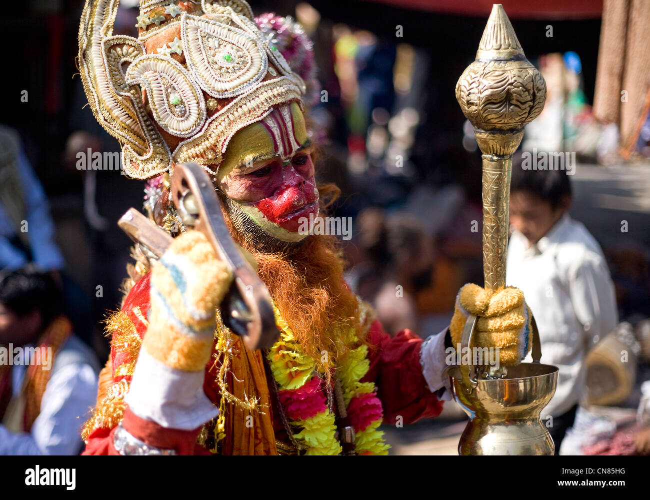 Man dressed as Hindu god Hanuman during Shivaratri  festival at Pashupatinath - Stock Image