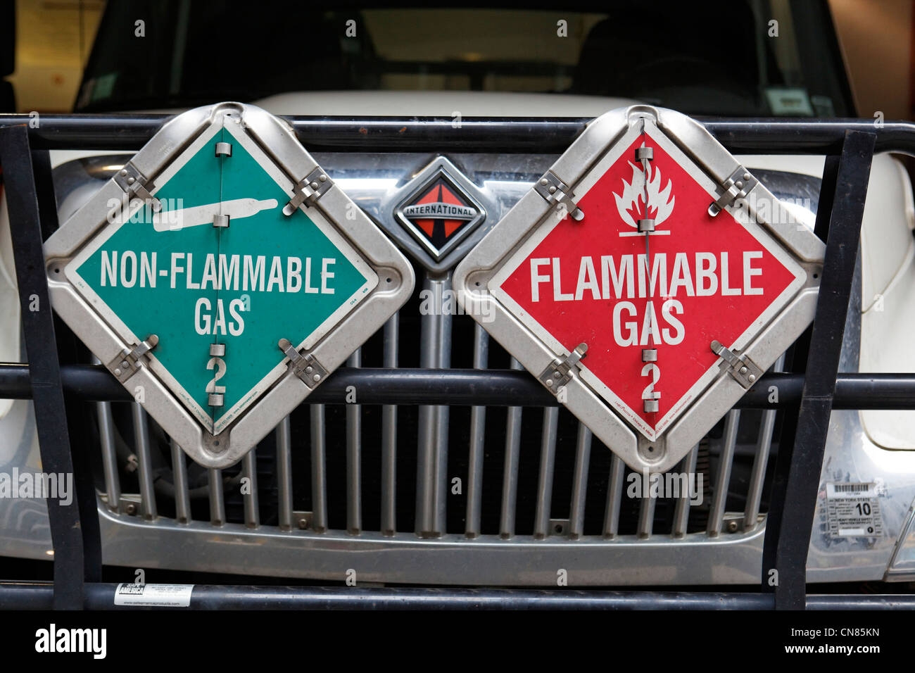 United States, New York City, Manhattan, panel flammable gas on a truck - Stock Image